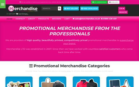 Screenshot of Home Page merchandise.co.uk - Printed Promotional Merchandise Suppliers - Merchandise Ltd - captured Sept. 30, 2018