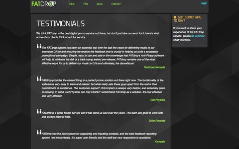 Screenshot of Testimonials Page fatdrop.co.uk - FATdrop - digital music services - captured Sept. 24, 2014