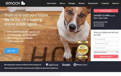 Screenshot of Home Page emoov.co.uk - Online Estate Agents - eMoov.co.uk - The UK's leading Online Estate Agent - captured Oct. 1, 2015