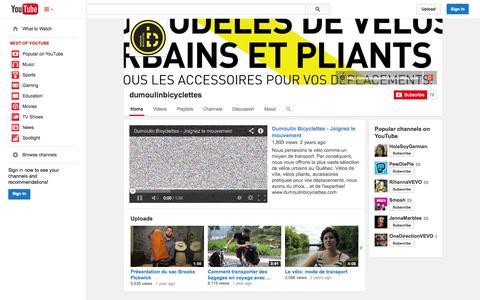 Screenshot of YouTube Page youtube.com - dumoulinbicyclettes  - YouTube - captured Oct. 23, 2014