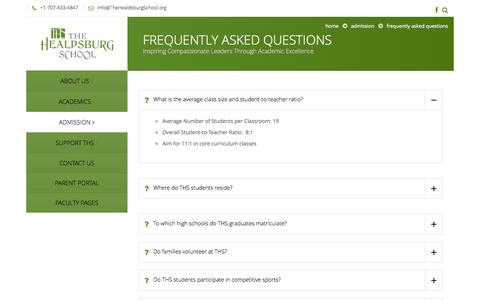 Screenshot of FAQ Page thehealdsburgschool.org - Frequently Asked Questions - The Healdsburg School The Healdsburg School - captured Oct. 9, 2014