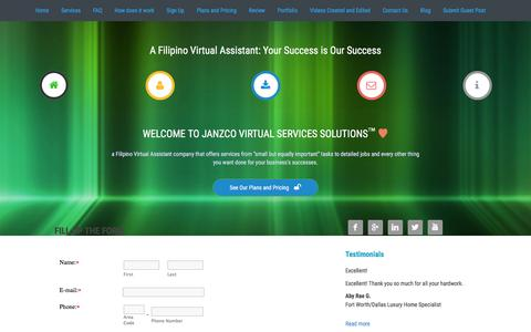 Screenshot of Signup Page janzcovirtualservicessolutions.com - Sign up to hire a Filipino Virtual Assistant - captured Aug. 7, 2016