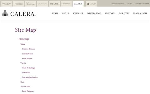 Screenshot of Site Map Page calerawine.com - SiteMap | Calera Wine Company - captured Sept. 26, 2018