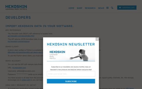 Screenshot of Developers Page hexoskin.com - Developers - Hexoskin API - smart shirt               | Carre Technologies inc (Hexoskin) - captured March 7, 2017