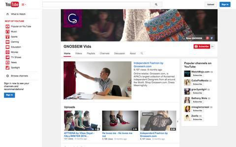 Screenshot of YouTube Page youtube.com - GNOSSEM Vids  - YouTube - captured Oct. 22, 2014