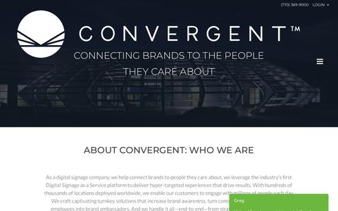 Screenshot of About Page convergent.com - About Convergent: A Digital Signage Solutions Company - captured Sept. 29, 2018