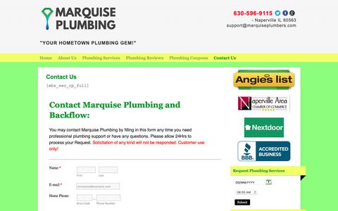 Screenshot of Contact Page marquiseplumbers.com - Contact Us - Marquise Plumbing and BackflowContact Us - Marquise Plumbing and Backflow - captured Oct. 17, 2018