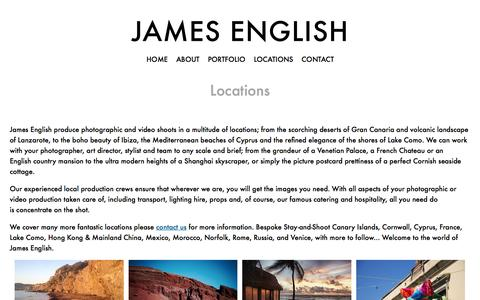 Screenshot of Locations Page jamesenglishproductions.com - Locations - James English - captured Feb. 11, 2016