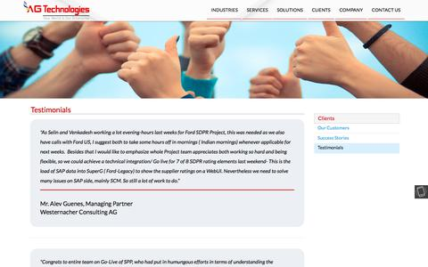 Screenshot of Testimonials Page ag-technologies.com - AG Technologies - captured July 28, 2018