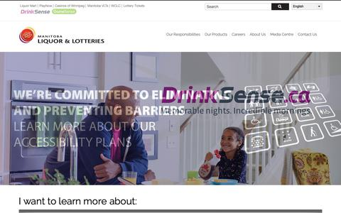 Screenshot of Home Page mbll.ca - Manitoba Liquor & Lotteries | - captured Oct. 1, 2018