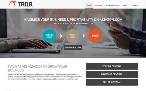 Screenshot of Home Page tanasales.com - Navigating Amazon | Tana Sales & Marketing - captured Dec. 11, 2016