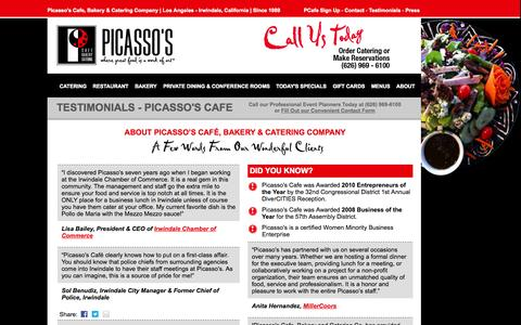 Screenshot of Testimonials Page picassoscafe.com - Testimonials | Picasso's CafePicasso's Cafe - captured Oct. 2, 2014
