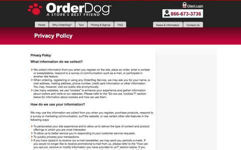 Screenshot of Privacy Page orderdog.com - Privacy Policy - Order DogOrder Dog - captured Nov. 29, 2016