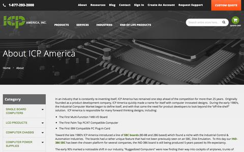Screenshot of About Page icpamerica.com - Computer System Solution Provider- Industrial PC Supplier | ICP America - captured Feb. 14, 2018