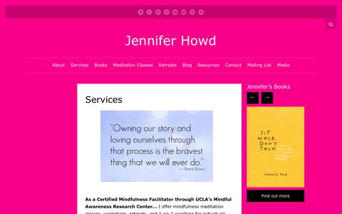 Screenshot of Services Page jenniferhowd.com - Services   Jennifer Howd - captured Sept. 14, 2017