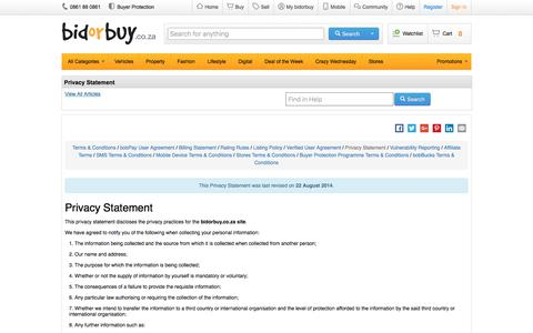 Screenshot of Privacy Page bidorbuy.co.za - Privacy Statement - captured June 7, 2017