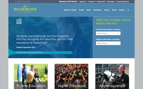 Screenshot of Home Page reaseheath.ac.uk - Reaseheath College - leading land-based college - captured Jan. 10, 2016