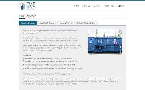 Screenshot of Services Page evebuildingconsultancy.co.uk - Building Surveys – Eve Building Consultancy Ltd – Chartered Building Surveyors based in Gloucestershire - captured Oct. 3, 2014