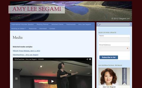 Screenshot of Press Page wordpress.com - Media | Amy Lee Segami - captured Sept. 12, 2014