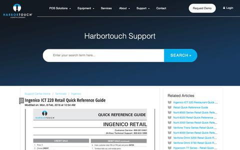 Screenshot of Support Page harbortouch.com - Ingenico ICT 220 Retail Quick Reference Guide : Harbortouch Support Center - captured Oct. 9, 2018