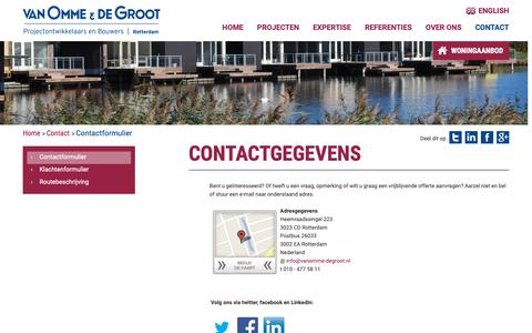 Screenshot of Contact Page vanomme-degroot.nl - Contactformulier | Van Omme & De Groot - captured Oct. 20, 2018
