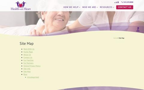 Screenshot of Site Map Page healthwithheart.com - Site Map - Health with Heart - captured Sept. 27, 2018