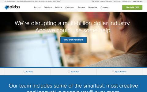 Screenshot of Jobs Page okta.com - Careers With Identity Management Leader: Okta - captured Sept. 17, 2014