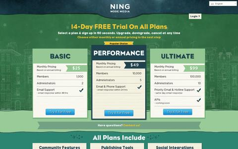 Screenshot of Pricing Page ning.com - Pricing | Ning.com - captured July 20, 2014