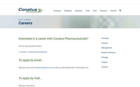 Screenshot of Jobs Page conatuspharma.com - Careers | Conatus Pharmaceuticals - captured Nov. 1, 2017