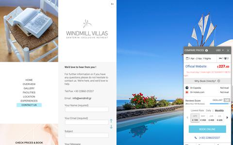 Screenshot of Contact Page windmill.gr - Contact Us | WINDMILL VILLAS | Luxury Boutique Villas and Suites in Santorini - captured Dec. 21, 2018