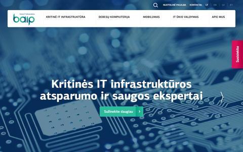 Screenshot of Home Page baip.lt - BAIP - Kritinės IT infrastruktūros ekspertai - captured Nov. 14, 2016