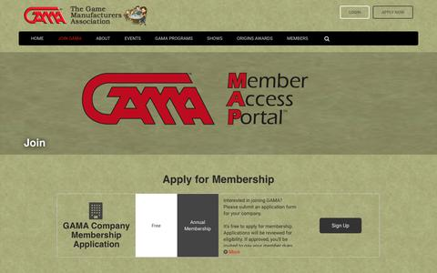 Screenshot of Signup Page gama.org - The Game Manufacturers Association - captured July 9, 2017