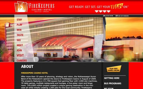 Screenshot of About Page firekeeperscasino.com - About  | FireKeepers Casino Hotel - captured Oct. 13, 2017