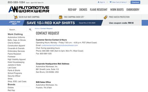 Screenshot of Support Page automotiveworkwear.com - Automotive Workwear: Contact Request - captured Jan. 28, 2020