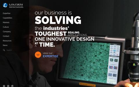 Screenshot of Home Page lauren.com - Lauren Manufacturing | Custom Rubber Extrusions | Rubber Extruding | Extruded Polymer Solutions - captured Jan. 26, 2016