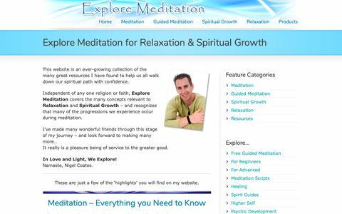 Screenshot of Home Page exploremeditation.com - Explore Meditation | Meditation and Spiritual Growth - captured Oct. 18, 2018