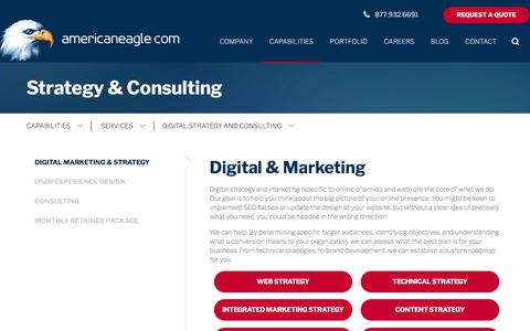 Screenshot of Services Page americaneagle.com - Digital Website Strategy and Consulting Services | Americaneagle.com - captured May 26, 2018