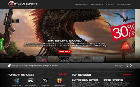 Screenshot of Home Page fragnet.net - Fragnet - Premium Hosting of Minecraft Servers. High performance game server hosting of game titles like BF3, MOHW, CSGO and 45 different other titles - FragNet | Built for Gamers. - captured Aug. 2, 2015
