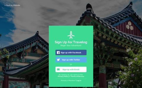 Screenshot of Signup Page travelog.me - Travelog – The complete travel guide for things to do and places to visit - captured Nov. 5, 2014