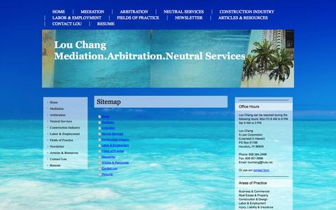 Screenshot of Site Map Page louchang.com - Lou Chang- Mediator, Arbitrator, Facilitator, Neutral Service For Legal Disputes- - captured Oct. 3, 2014
