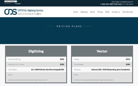 Screenshot of Pricing Page crystaldigitizing.com - Welcome to Crystal Digitizing | Embroidery Digitizing Services - captured July 23, 2018