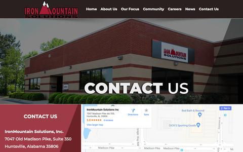 Screenshot of Contact Page ironmountainsolutions.com - Contact Us | IronMountain Solutions | Stay in Touch With Us - captured Nov. 26, 2018