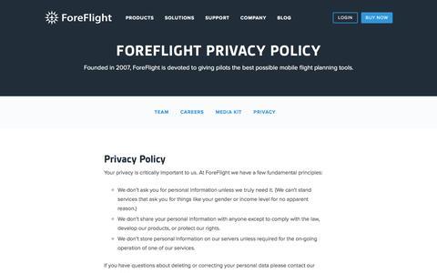 Screenshot of Privacy Page foreflight.com - ForeFlight - Privacy - captured Sept. 5, 2016