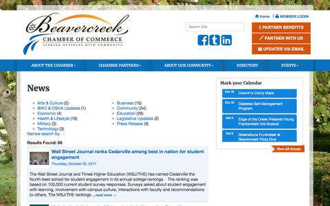 Screenshot of Press Page beavercreekchamber.org - News - Beavercreek Chamber of Commerce , OH - captured Oct. 10, 2017