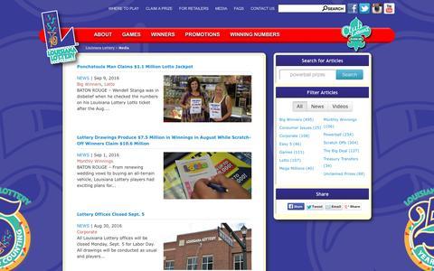 Screenshot of Press Page louisianalottery.com - Media - Louisiana Lottery - captured Sept. 10, 2016