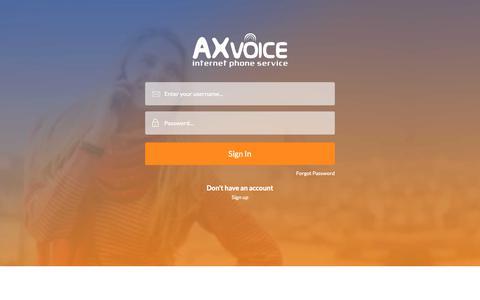 Screenshot of Login Page axvoice.com - Login - captured Oct. 4, 2018