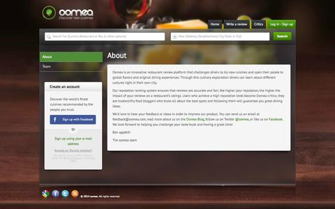 Screenshot of About Page oomea.com - About Us | Oomea - captured Oct. 9, 2014