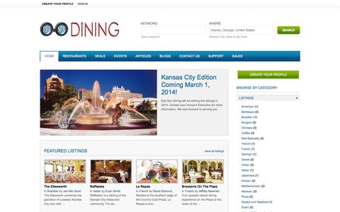 Screenshot of Home Page eyespydining.com - Kansas City Restaurants | Eye Spy Dining - captured Sept. 30, 2014