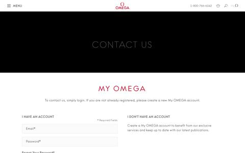 Screenshot of Contact Page omegawatches.com - Customer Login  | OMEGA® - captured May 19, 2019