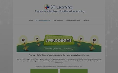 Screenshot of Trial Page 3plearning.com - Try Spellodrome in your school or home for FREE - captured Oct. 29, 2014
